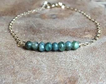 Emerald Bracelet - Emerald Jewelry - Raw Emerald Bracelet - May Birthstone Jewelry - Dainty Emerald Bracelet -  Bracelet For Mom