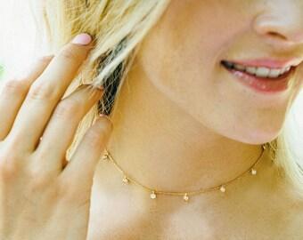 CZ Drops Choker | Gold Choker Necklace | Dainty Choker Necklace