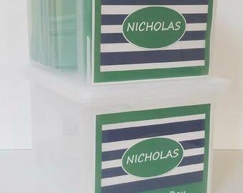 School File Folder Labels,  School File Box, School Paper Organizer , School Paper Storage - PDF- Blue-Green Stripes