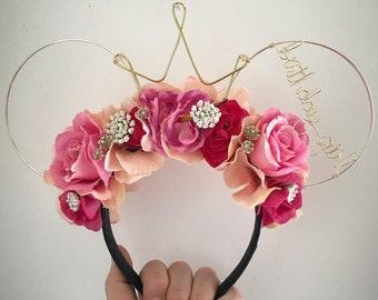 Wire mouse ears, Aurora ears, wire mouse ears, birthday girl, tiara crown, flower crown sleeping beauty ears, briar rose, rose gold ears