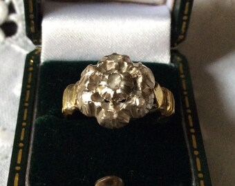 ANTIQUE c1700 authentic Huge ring-Diamonds Old diamonds-Gold 18cts, silver-Very Rare - Exceptional antique from France