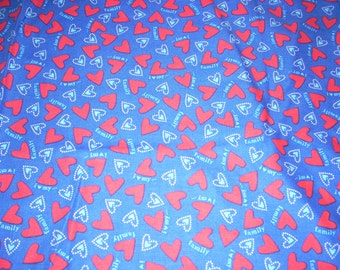 "I Love My Family - Red hearts on blue Cotton fabric -  14"" wide - sold by the yard"