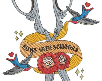 Runs with Scissors - Machine Embroidery