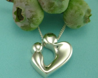 Mothers Jewelry, Silver Mom and Child, New Mother Gifts, 'Loving Heart' Pendant with Chain, Shower Gifts, from our Mère et Enfant Collection