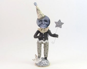 Spun Cotton Vintage Inspired Illusionist Moon Man Figure (MADE TO ORDER)