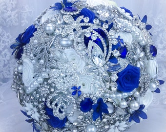 Luxurious Pure White Royal Blue Brooch bouquet. FULL PRICE Sapphire Blue bridal crystal bling broach bouquet.