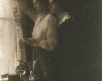 Two Women Looking at Photos 1900 - Vintage Photo Print, Ready to Frame!