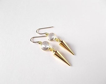 Quartz Dangle Earrings, Gemstone Jewelry, Birthday Gift, Gold Spike Earrings, Modern Jewelry, Gift for Her