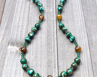 Green Beaded Necklace Mosaic Jade With Microfaceted Carnelian Gemstone Beads Kelly Green Swarovski Crystals