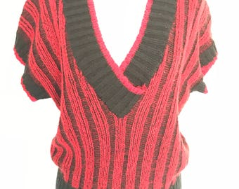 80's Wide Rib Sweater Vest