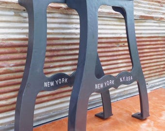 Dining Live Edge Table Legs Cast Iron Industrial New York NY USA