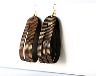 Leather Earrings / Sliced Leather / Cocoa Chili