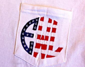 Monogram Flag Monogram Comfort Colors Shirt - Monogrammed Stars and Bars Tee - American Flag Monogram tshirt - Short Sleeve shirt - America
