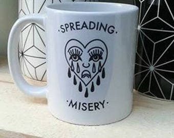 Spreading Misery Crying Heart Tattoo Mug Cup Mental Health