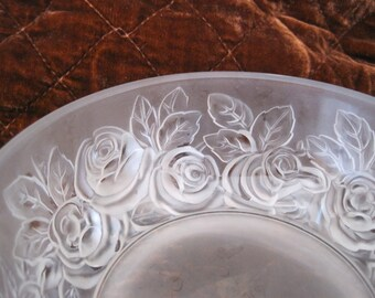 Verlys France Rose Embossed Bowl Satin Frost Glass Signed Art Glass Decorative Glass Mid Century