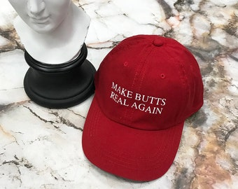NEW Make Butts Real Again Donald Trump KYC Vintage Strapback Cap Dad Hat Red