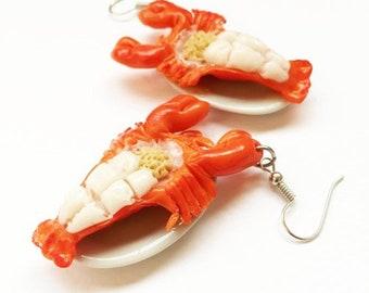 Lobster shrimp earring | Lobster shrimp miniature | Thai foods earring | Food earring | Food Jewelry | Miniature Foods | Gift | Earring Cute