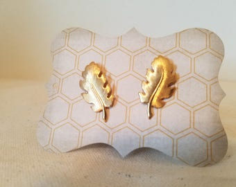 Fall Gold Leaf Earrings with Stud Backs