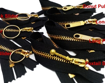 """9"""" Exposed Zipper with Fancy Pull Slider - more colors zipper YKK metal Number 5 Brass Closed Bottom  (select slider and Color)"""