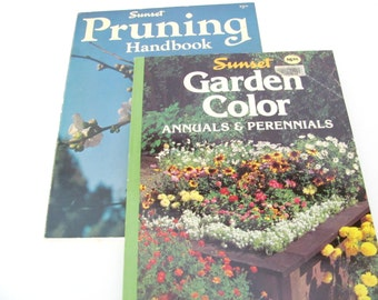 Vintage Sunset Gardening Books, 1970's, 1980's Pruning, Garden Color Book, How To Gardening Books