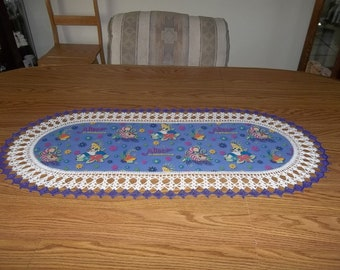 Crocheted, Alice in Wonderland Table Runner, Girls Dresser Scarf, Childrens Dresser Scarf, Fabric Center Crocheted Edging, Lace Centerpiece