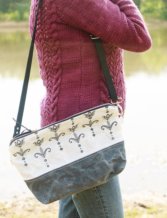 Art Deco Tulip Waxed Canvas Cross Body Bag / Waxed Canvas Handbag / Handmade Screen Printed Purse