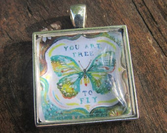 You are free to fly | silver necklace | butterfly | freedom | encouragement
