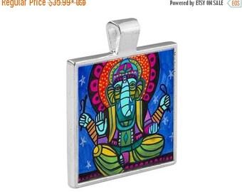 50% SALE- Ganesh Folk Art Jewelry - Pendant Metal  Gift Art Heather Galler Gift - Ganesha Spiritual Obstacle Breaker Hindu Religious Ic
