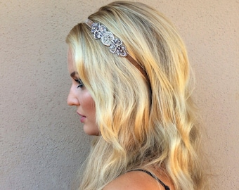 Art Deco headband deco headpiece Hair accessories Silver beading Stretch Elastic Velvet Great Gatsby 1920s, Bridal Champagne fascinator