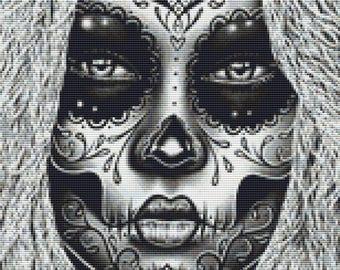 Day of the Dead Cross Stitch, Carissa Rose Art, 'Delia', Sugar Skull Cross Stitch Pattern, CROSS STITCH KIT, Dia de los Muertos, Skull Art