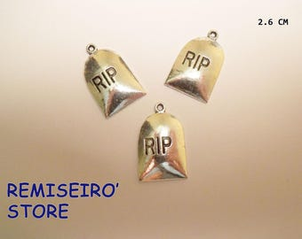 """set of 3 charms """"RIP"""" 26 mm silver plated charms"""