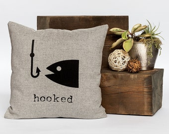 "Hooked - Throw Pillow, Fish Pillow, Decorative Pillow, Accent Pillow - 18"" X 18"" In Light Flax, Light Grey Or Cream"