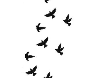 Birds in Flight Tattoo Sheet - 1 Pc