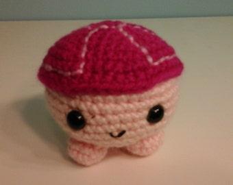 Crochet roly poly turtle, lt pink/dk pink