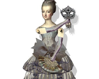 marie antoinette puppet paper dolls articulated DIY doll collage sheet
