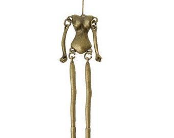 Metal charm woman bead cap DIY art doll jewelry findings supplies  Pendants Human Body head pin (DRW300)