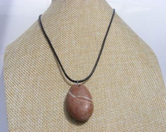 Irish Natural Wishing Pebble Pendant Necklace