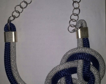 Hand knotted climbing rope Necklace blue and silver glitter