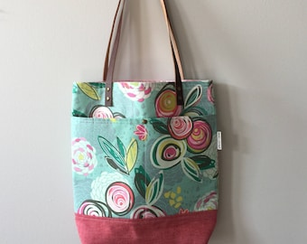 Cotton Tote, Library Bag, Carryall Bag, Book Bag, Floral Tote, Gift for Her