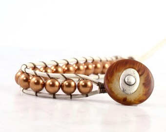 Leather Wrap Bracelet White Distressed Leather Copper Crystal Pearl Autumn Fashion Single Wrap Rustic Boho Jewelry Bohemian Bracelet