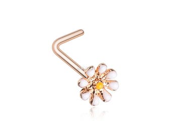 Rose Gold Dainty Adorable Daisy L-Shaped Nose Ring