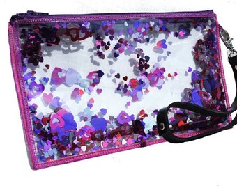 Pink Clutch Bag Pink Wristlet Purse Sparkly Clutch Bag in Heartthrob