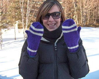 Purple striped mittens