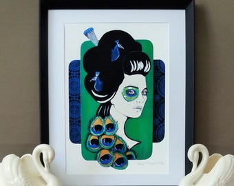 Giclee print by Andy McCready - 'PLUMAGE' - Limited edition, small, peacock, blue, green, gold, feather. Prints by giltandenvy on Etsy.