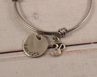 Namaste Adjustable Bracelet - Yoga Bangle Bracelet - Expandable bracelet