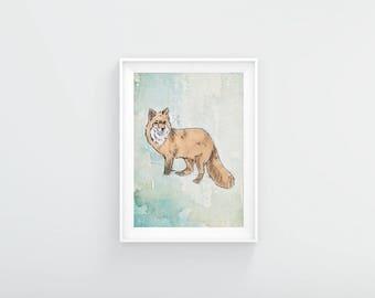 Fox in the Snow A3 Print