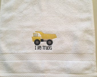Embroidered Washcloth with a Dump Truck