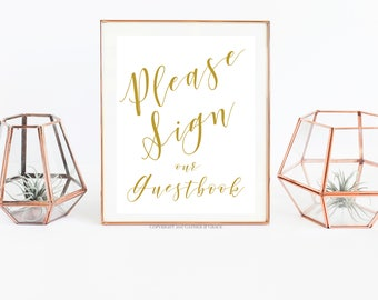 Guestbook Sign - Please Sign Our Guestbook - Guest Book Printable - Guest Book- Wedding Decor - Wedding Signs - Party Decor - Gold and White
