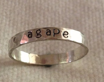 Hammered Sterling Silver Personalized Ring Band.  Custom.  Fun.  Message.  Eco Friendly.  Recycled Silver.