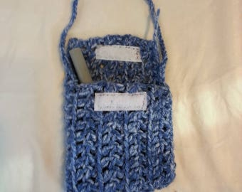 """blue pouch with """"velcro"""" closing"""